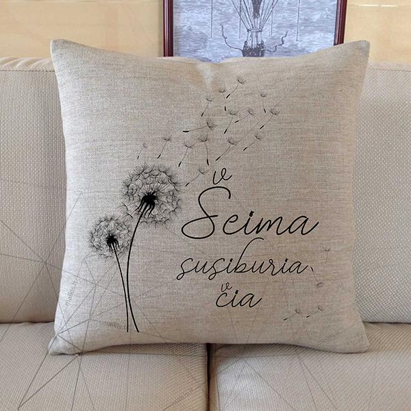Dekoratyvinė pagalvė Šeima susiburia čia