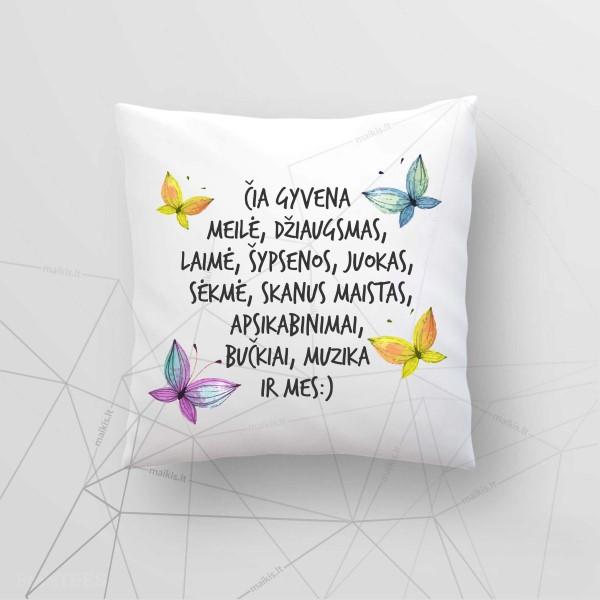Dekoratyvinė lino pagalvė Čia gyvena
