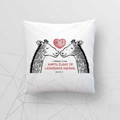 Dekoratyvinė pagalvėlė jaunavedžiams Džiaugsme ir varge