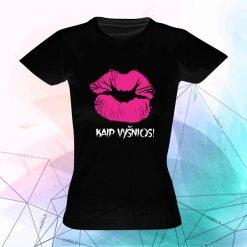 Marškinėliai su užrašais Lūpos kaip vyšnios
