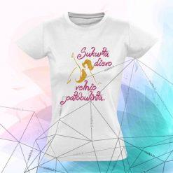 Moteriški marškinėliai Sukurta dievo velnio patobulinta