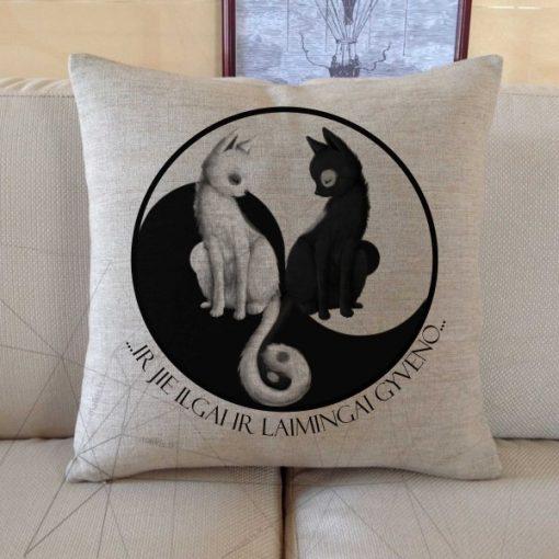 Lino pagalvė Yin Yang ir jie ilgai ir laimingai gyveno