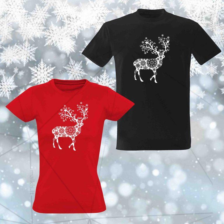 Kalėdiniai marškinėliai poroms Snowy Deer