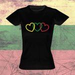 Marškinėliai su Lietuvos atributika Trys širdys